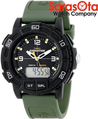 Timex T49967 Expedition Ana/Digi Black Case Green Rubber Strap Sport Men's Watch