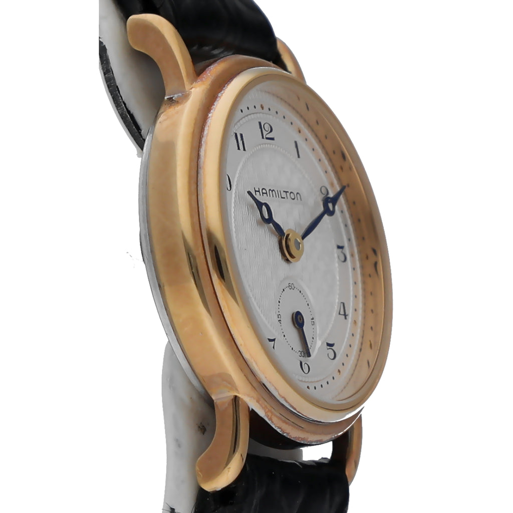Hamilton 620876 Gold Plated 23mm Silver Arabic Dial Leather Quartz Women's Watch