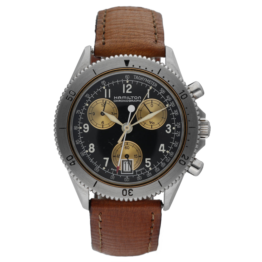 Hamilton 8802 Chronograph Steel Black Arabic Dial Leather Quartz Men's Watch