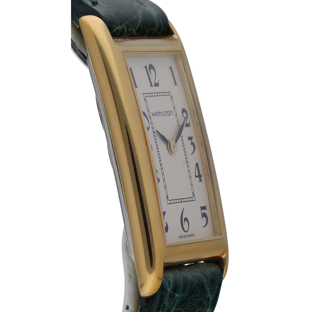 Hamilton 46016 Gold Plated Rectangle Arabic Green Leather Quartz Wrist Watch