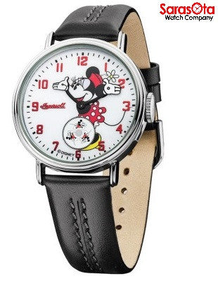 Disney Ingersoll IND26503 White Minnie Dial Black Leather Steel Women's Watch