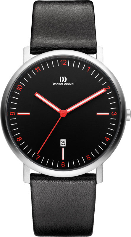 Danish Design IQ14Q1071 Black Dial Red Accent Date Leather Strap Men's Watch
