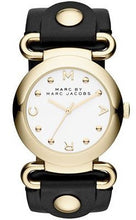 Marc by Marc Jacobs MBM1304 Gold Tone Case Black Leather Strap Women's Watch