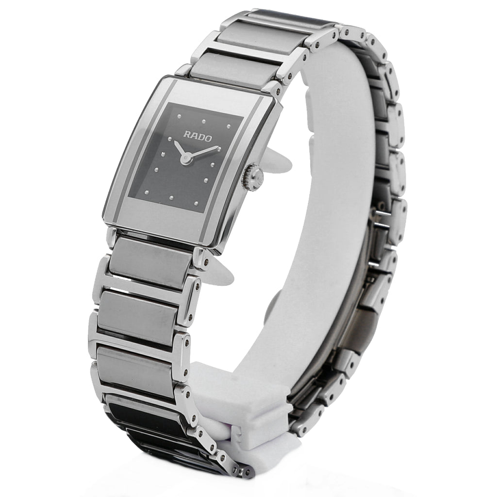 Rado Integral R20488172 Gray Platinum Ceramic Steel Black Dial 18mm Ladies Watch Tampa Florida - Sarasota Watch Company