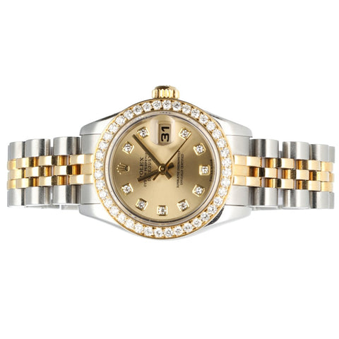 Rolex Datejust 179173 Champagne Diamond Dial & Bezel Two Tone 18K/Steel Women's Watch