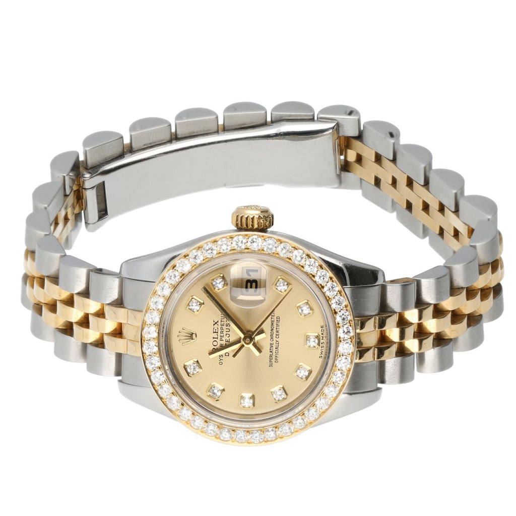 Rolex Datejust 179173 Champagne Diamond Dial & Bezel Two Tone 18K/Steel Women's Watch - Sarasota Watch Company