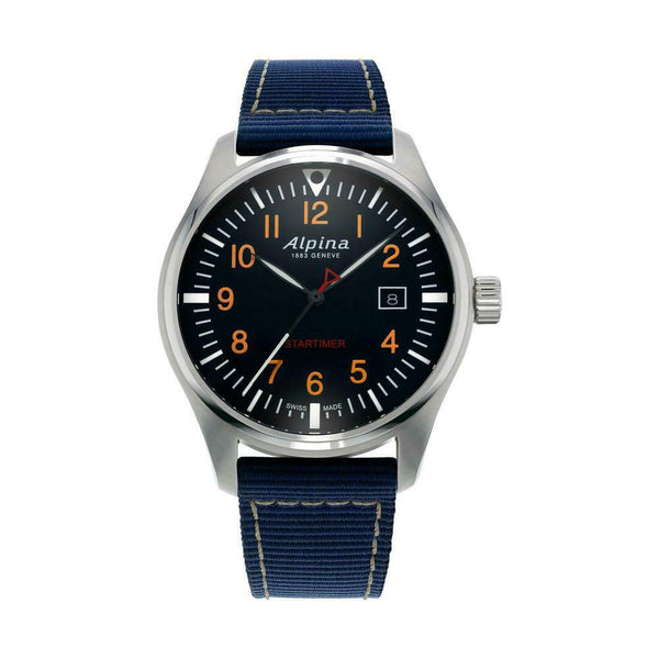 Alpina Startimer Pilot AL-240N4S6 Steel 42mm Navy Canvas Quartz Men's Watch