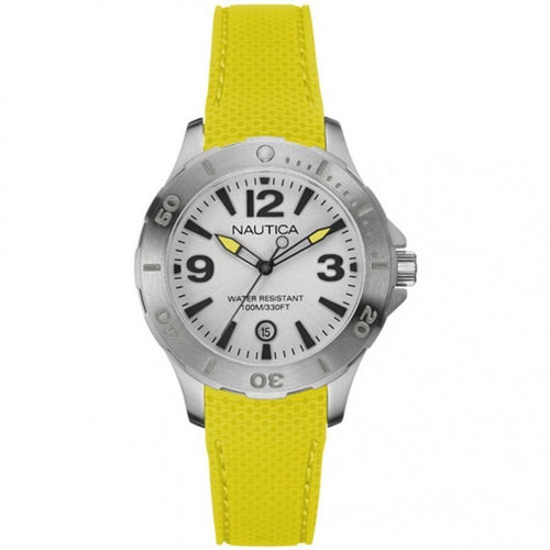Nautica NAI11500M Silver Dial Yellow Rubber Quartz Sport Women's Watch