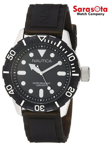 Nautica A09600G Stainless Steel Black Dial Rubber Quartz Sport Men's Watch