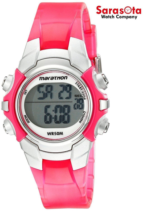 Timex T5K808 Pink/Silver Tone Resin Chronograph Digital Quartz Women's Watch