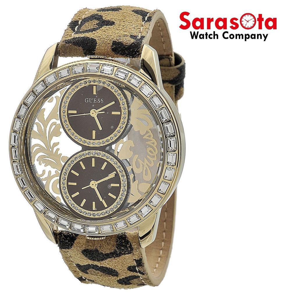 Guess W18544L2 Dual Time Zone Crystal Bezel Leopard Leather Quartz Women's Watch - Sarasota Watch Company