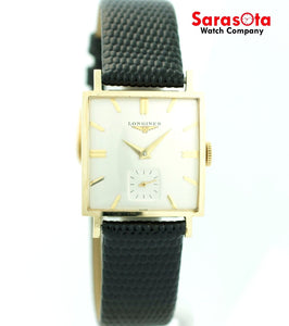 Vintage Longines Silver Dial 14K Yellow Gold Square Hand Winding Men's Watch