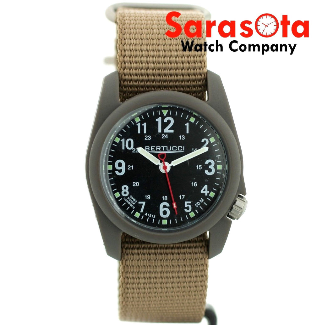 Bertucci A-2R Poly-Resin Case 1116 Japan Quartz 40mm Khaki Canvas Men's Watch