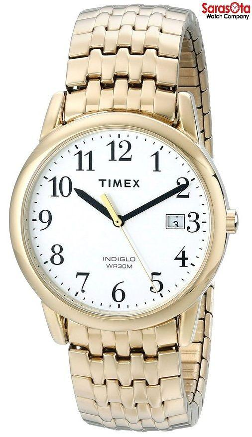 Timex T2P293 White Dial Gold Tone Stainless Steel Expansion Quartz Men's Watch