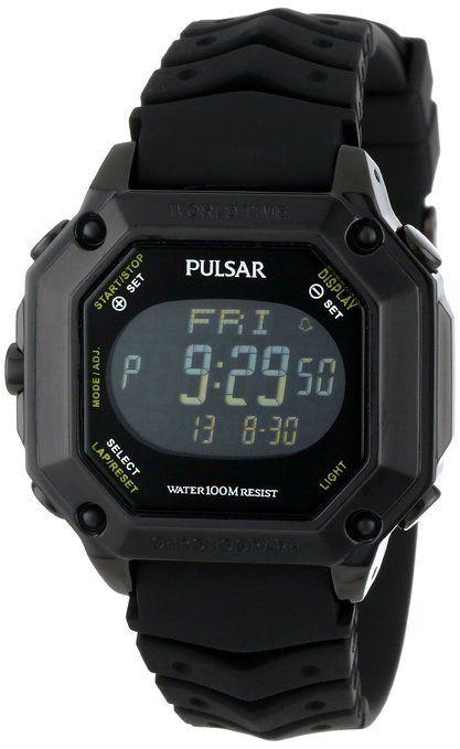 Pulsar By Seiko PW3003 World Time Digital Black Rubber Strap Sport Men's Watch