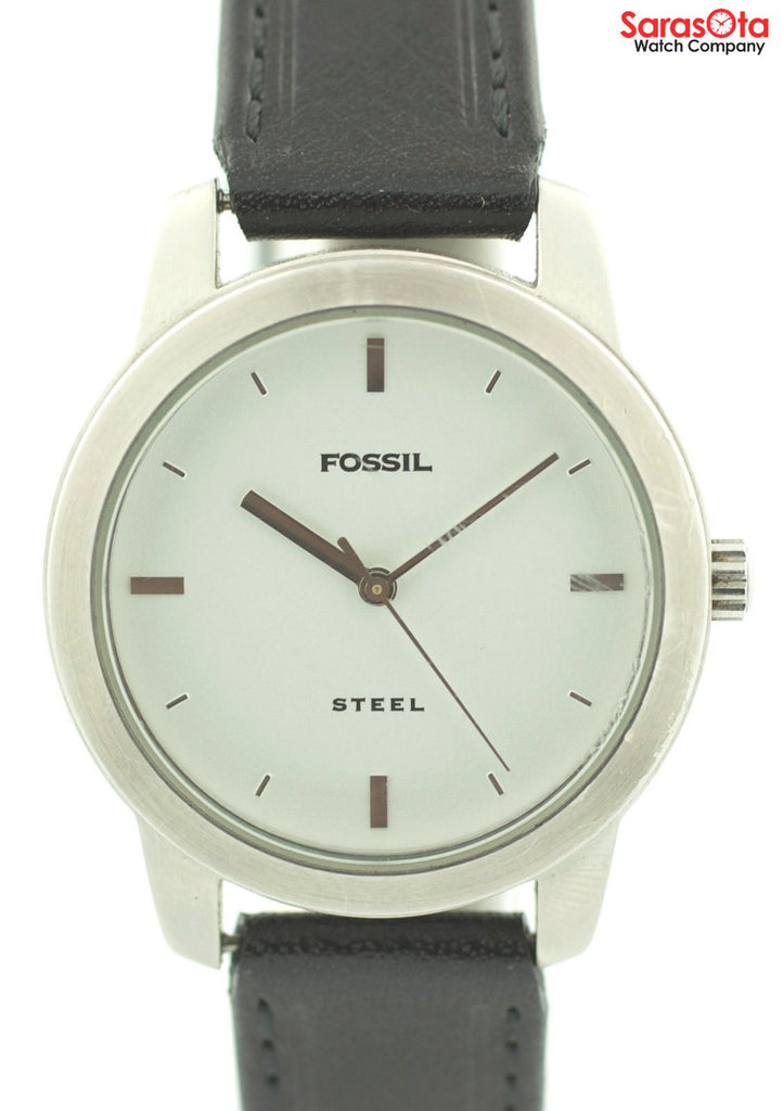 Fossil FS-2661 White Dial Stainless Steel Black Leather Quartz Women's Watch - Sarasota Watch Company