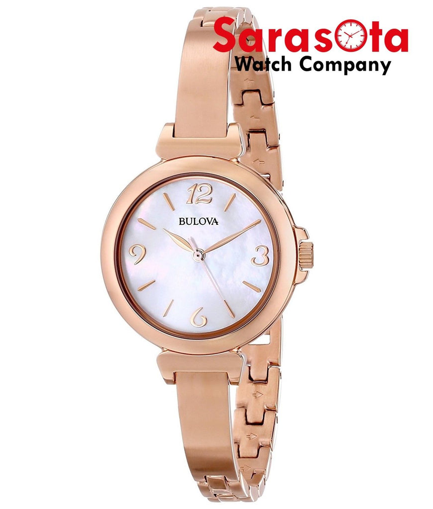 Bulova 97L137 Rose Gold Tone Stainless Steel MOP Dial Round Quartz Ladies Watch - Sarasota Watch Company