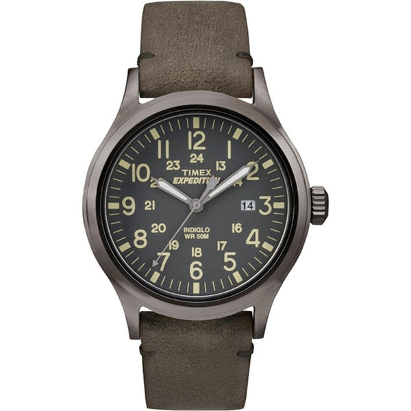 Timex Expedition T4B017 40mm Gray Dial Brown Leather Quartz Indiglo Men's Watch