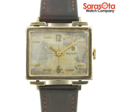 Vintage Benrus 10K Gold Filled Rectangle Case Brown Leather Dress Women's Watch