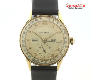Vintage Movado Triple Calendar 18K Yellow Gold Leather Hand Winding Men's Watch