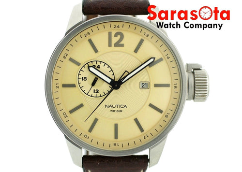 Nautica N12004 Brown Sport Leather 46mm WR100M Tan Dial Quartz Mens Watch
