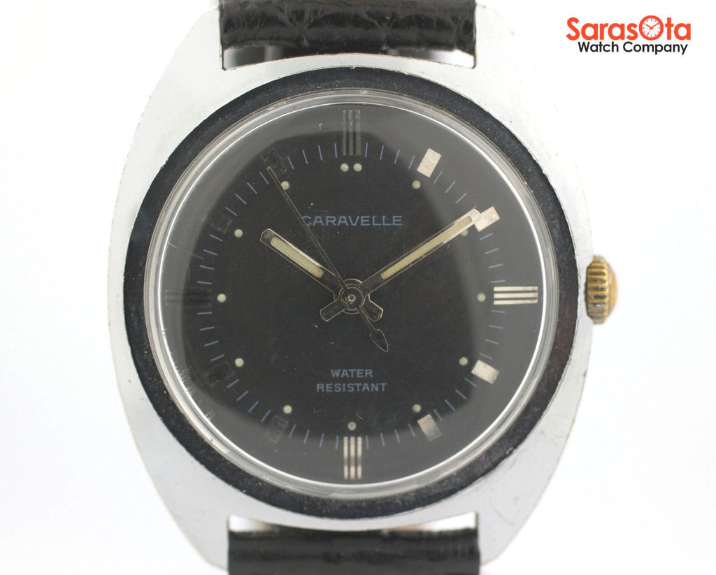 Vintage Caravelle Black Dial Stainless Steel Hand Winding 34mm Dress Men's Watch - Sarasota Watch Company