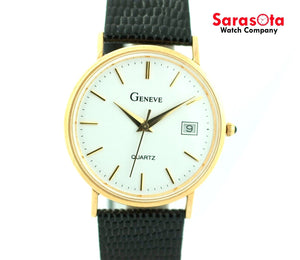 Geneve 14K Yellow Gold White Dial Genuine Black Leather Quartz Men's Watch