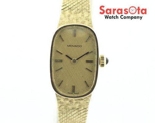Vintage Movado 14K Yellow Gold Champagne Dial Hand Winding Women's Watch