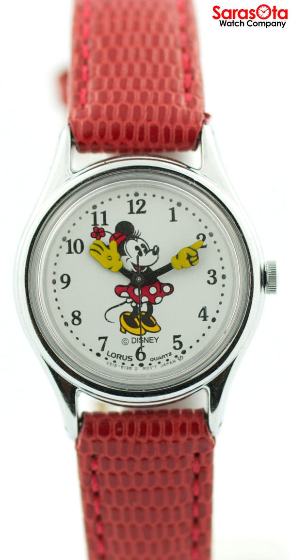 Disney RMF009 White Minnie Dial Red Lizard Strap Stainless Steel Women's Watch