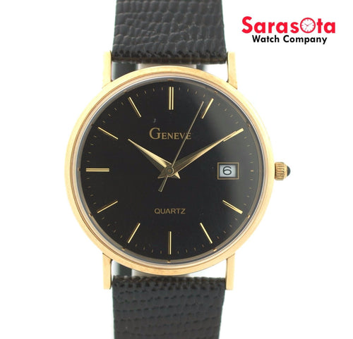 Geneve 14K Yellow Gold Black Dial Genuine Black Leather Quartz Men's Watch