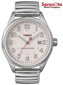 Timex T2N311 Pale Pink Dial Stainless Steel Expansion Band Quartz Unisex Watch