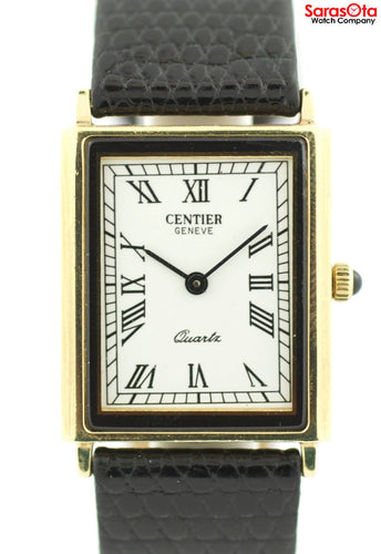 Rare Centier 14K Yellow Gold Lizard Strap Swiss Quartz Dress Unisex Watch