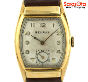 Vintage Benrus Tank 14K Yellow Gold Filled Bezel Brown Leather Dress Men's Watch