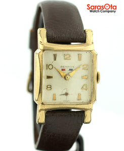 Vintage Benrus 10K Gold Plated Bezel Brown Leather Hand Winding Men's Watch