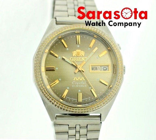 Vintage Orient AAA Crystal Day/Date Stainless Steel Swiss Automatic Men's Watch