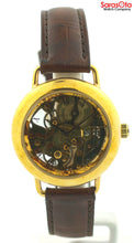 Brieux 0990 Skeleton Dial Gold Tone Stainless Steel Leather Automatic Mens Watch