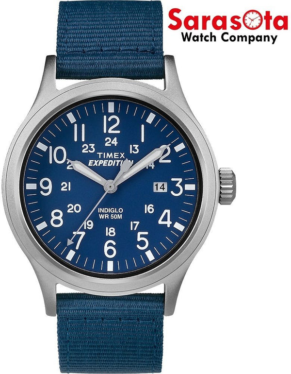 Timex Expedition T4B070 40mm Blue Dial Stainless Quartz Indiglo Men's Watch