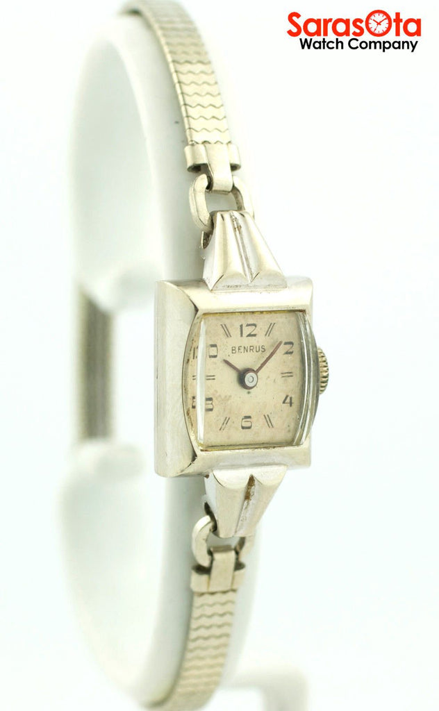 Vintage Benrus 14K White Gold Case Stainless Steel Band Petite Women's Watch - Sarasota Watch Company