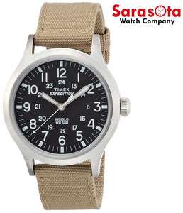Timex Expedition T49962 40mm Black Dial Tan Nylon Quartz Indiglo Men's Watch