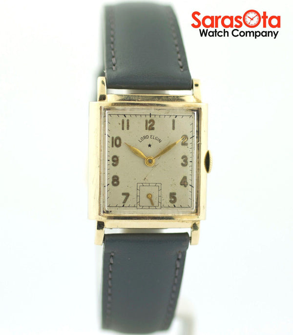 Vintage Lord Elgin 14K Yellow Gold Grey Leather Hand Winding Men's Watch