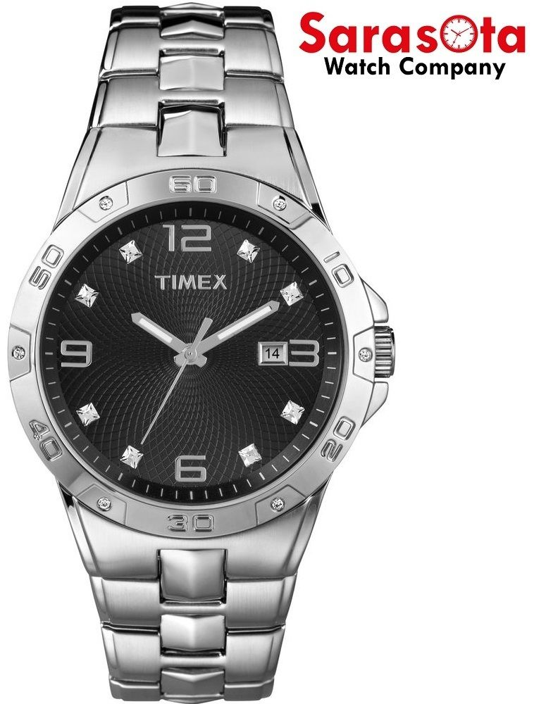 Timex T2P261 Black Arabic & Crystal Dial Stainless Steel Quartz Men's Watch - Sarasota Watch Company