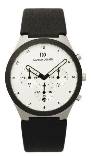 Danish Design IQ12Q885 White Dial Chronograph Black Leather Quartz Men's Watch