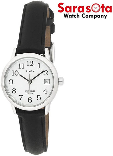 Timex Easy Reader T2H331 White Dial Black Leather Stainless Quartz Women's Watch