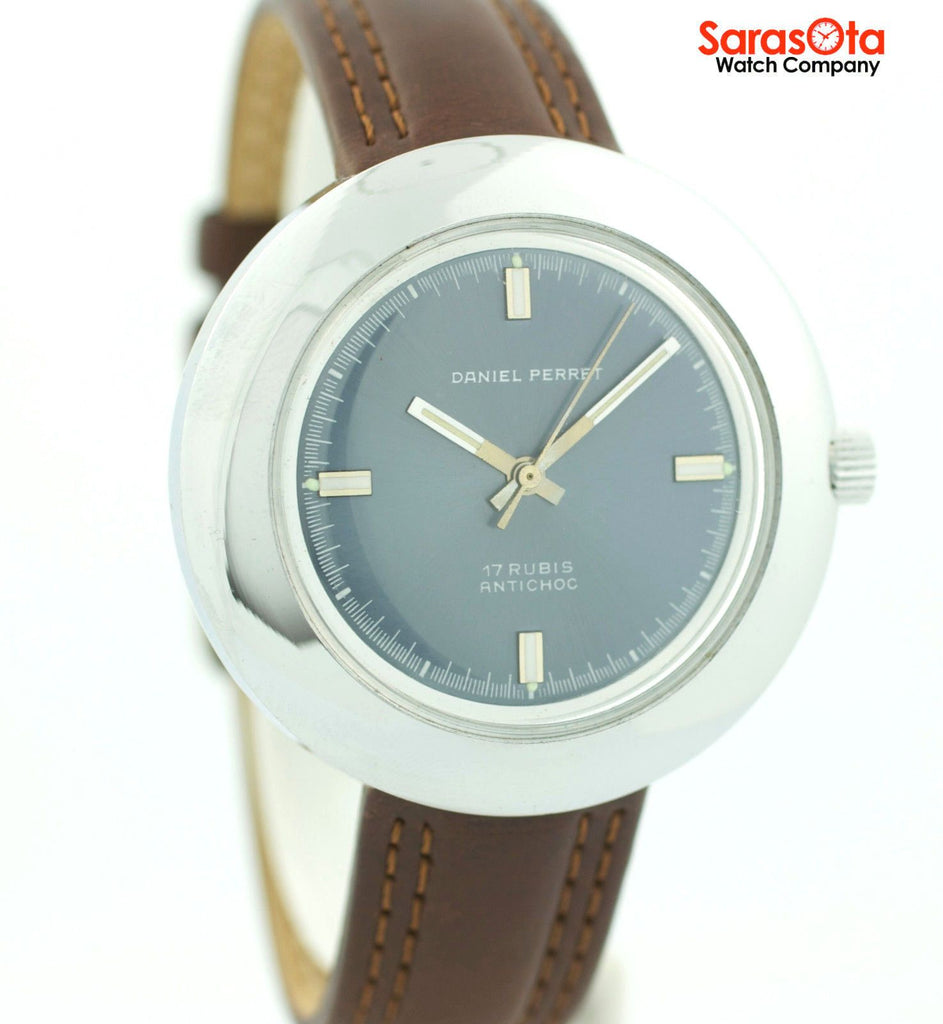 Daniel Perret Stainless Steel Blue Dial Brown Leather Hand Wind Wrist Watch - Sarasota Watch Company