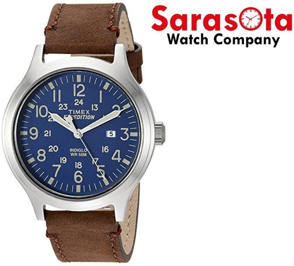Timex Expedition T4B064 43mm Blue Dial Brown Leather Quartz Indiglo Men's Watch