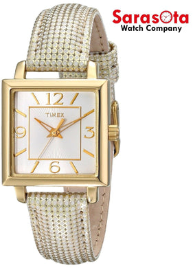 Timex T2P379 Gold Tone Stainless Steel Leather Square Quartz Women's Watch