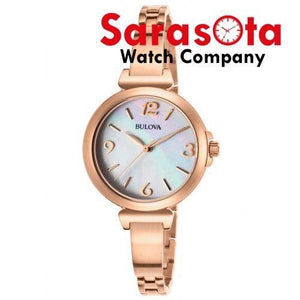 Bulova 97L137 Rose Gold Tone Stainless Steel MOP Dial Round Quartz Ladies Watch