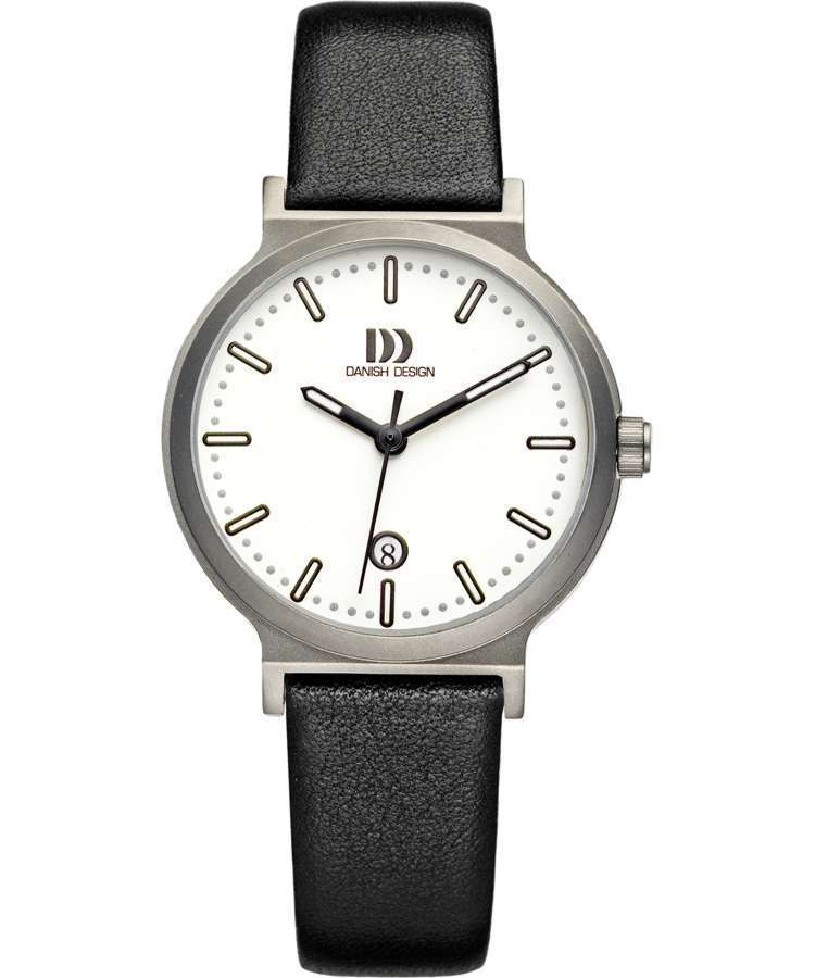 Danish Design IV12Q993 White Dial Titanium Black Leather Quartz Women's Watch - Sarasota Watch Company