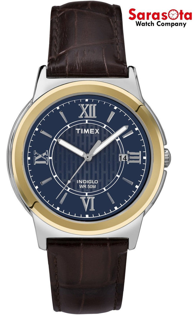 Timex T2P521 Blue Dial Two Tone Stainless Steel Brown Leather Quartz Men's Watch - Sarasota Watch Company