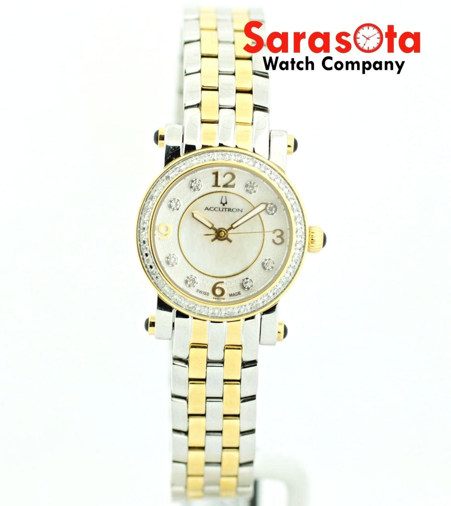 Bulova Accutron 28R016 46 Diamond Bezel MOP Two Tone Steel Quartz Women's Watch - Sarasota Watch Company